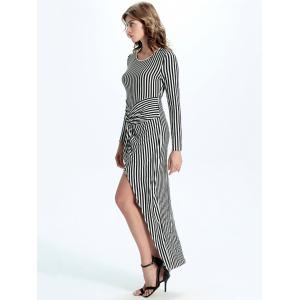 Striped Twist-Front Long Sleeve Asymmetrical Maxi Dress - STRIPE 2XL