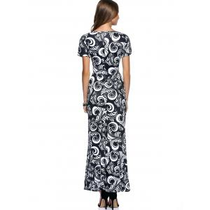 Slimming Short Sleeve Paisley Print Dress For Women -