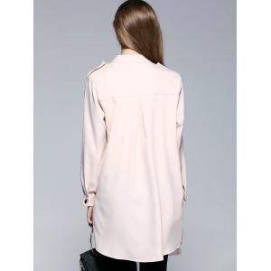 Long Sleeve Turn-Down Collar Women's Long Coat - KHAKI XL