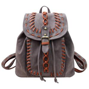 Leisure Buckle and Drawstring Design Backpack For Women -
