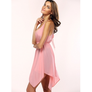 Alluring Plunging Neck Backless Handkerchief Hem Dress For Women -