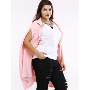 Plus Size Sweet Slit Sleeve Long Blazer - SHALLOW PINK 5XL