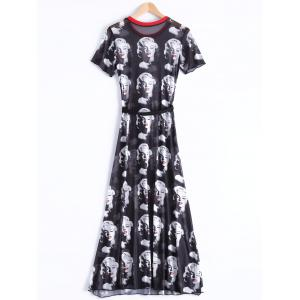 Chic Round Neck Short Sleeve Figure Print Women's Dress -