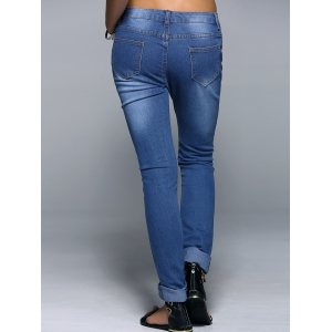 Broken Hole Narrow Feet Women's Jeans - DENIM BLUE S
