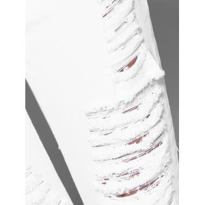 Button Fly Ripped Design Women's Skinny Jeans -