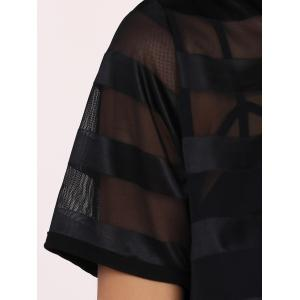 Street Style See-Through Striped Mesh Dress For Women -