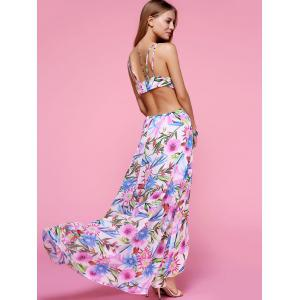 Plunge Backless Floral Maxi Flowy Dress - WHITE M