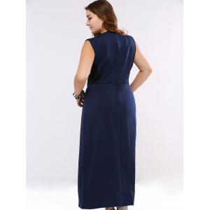 Plus Size Cut Out High Waist Cocktail Dress - DEEP BLUE 5XL