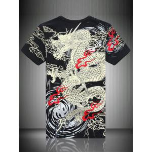 Totem Print Embroidered Round Neck Short Sleeve T-Shirt For Men -