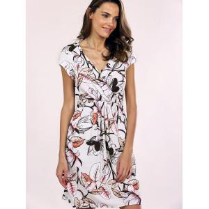 Trendy V-Neck Floral Print Wrap Dress For Women - WHITE 2XL