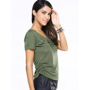 V-Neck Lace-Up Short Sleeve T-Shirt -