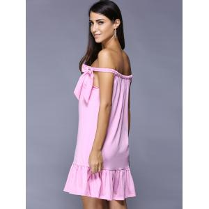 Off The Shoulder Bowknot Ruffled Dress - PINK S