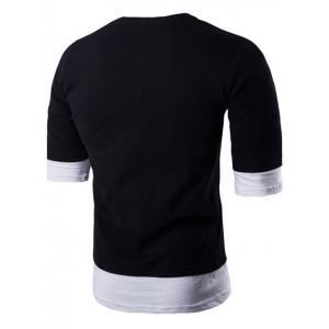 Brief Style Round Neck Color Block Half Sleeve T-Shirt For Men - BLACK 2XL