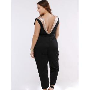 Sequined Sleeveless Open Back Plus Size Jumpsuit -