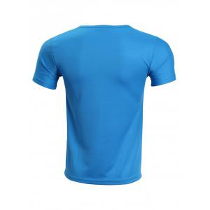 Solid Color Short Sleeve T-Shirt For Men - BLUE XL