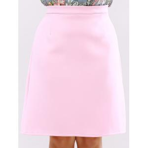 Plus Size Zip Up Knee Length Skirt -