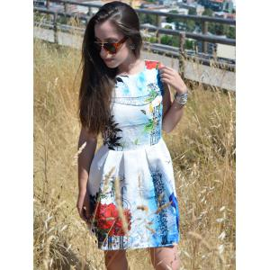 Round Neck Floral Print Flared Women's Dress -