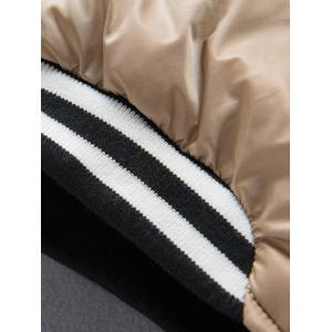 Varsity Snap Button Color Spliced Padded Coat For Men - APRICOT XL