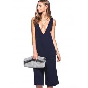 Simple Plunging Neck Pocket Design Wide Leg Jumpsuit - DEEP BLUE XL