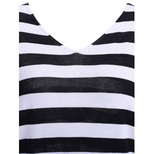 Casual V-Neck Striped Lace-Up Backless Short Sleeves T-Shirt For Women -