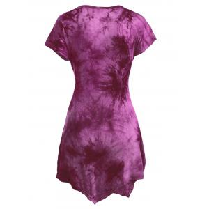 Short Sleeve Round Neck Tie-Dyed Asymmetric Dress - ROSE RED S