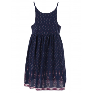 Chic V-Neck Floral Print Spaghetti Strap Dress For Women -