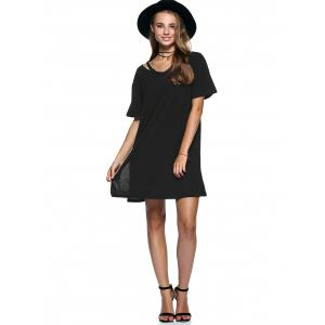 Cut Out Slit Pure Color Boyfriend Tee -