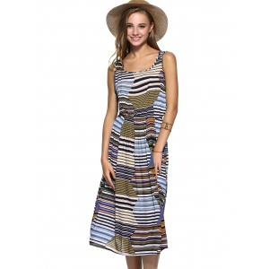 High Waist Striped Swing Dress -