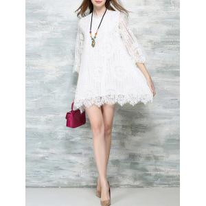 Sweet 3/4 Sleeve Lace Wavy Hem Dress For Women -