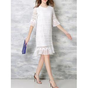 Elegant Flare Sleeve Chiffon Hem Lace Dress For Women -