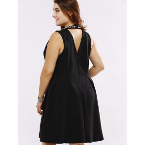 Plus Size Rhinestoned Cut Out Skater Dress -