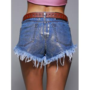Studded Fringe Ripped Distressed Denim Shorts -