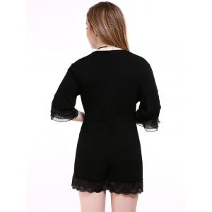 Oversized Alluring Layered Sleeve Lace Splicing Romper - BLACK 6XL