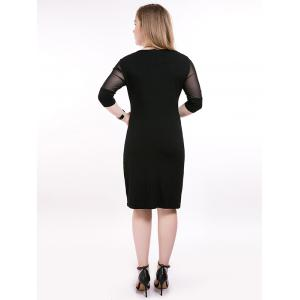 Plus Size Midi Mesh Trim Slimming Dress - BLACK 6XL