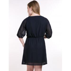 Plus Size Brief Elastic Waist Buttoned Dress -