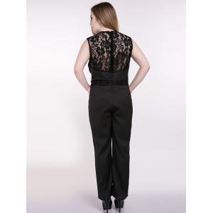 Plus Size Sleeveless Lace Splicing Back Jumpsuit - BLACK 5XL