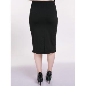 Plus Size Front Zip Pencil Skirt -