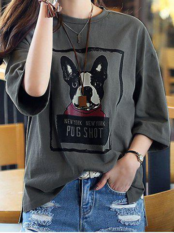 Latest Casual 3/4 Sleeve Dog Printed Drop Shoulder T-Shirt For Women