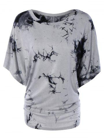 Online Scoop Neck Dolman Sleeve Tie-Dyed T-Shirt