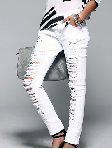 Chic Button Fly Ripped Design Women's Skinny Jeans