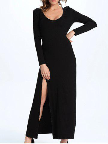 Online Maxi Long Sleeve High Slit Party Dress BLACK 2XL