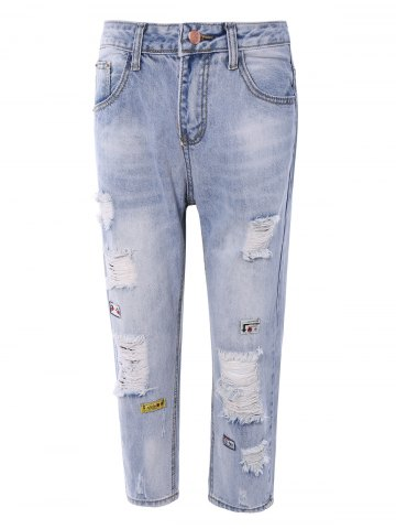Chic Fashionable Broken Hole Patch Design Women's Jeans