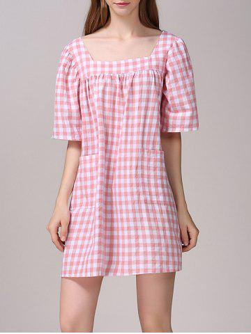 Best Cute Plaid Pattern Pocket Design Dress For Women