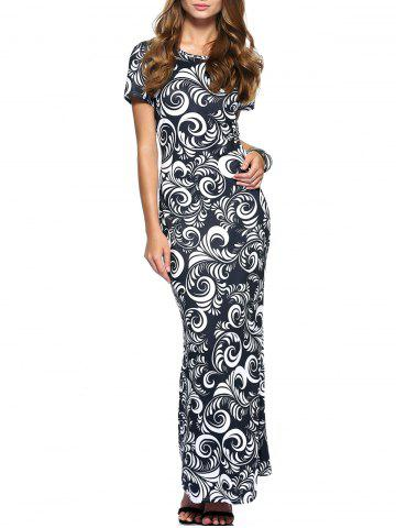 Outfits Slimming Short Sleeve Paisley Print Dress For Women