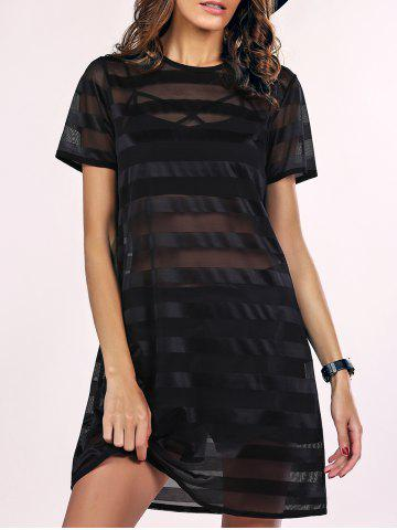 Fancy Street Style See-Through Striped Mesh Dress For Women