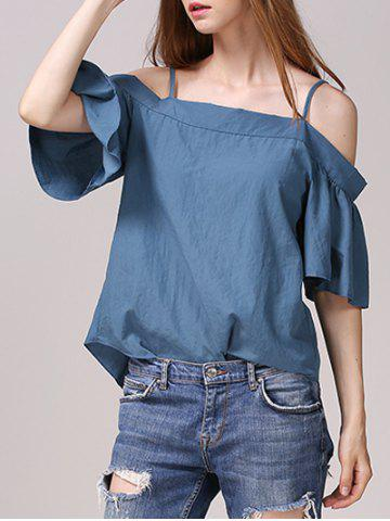 Chic Chic Cold Shoulder Flare Sleeve Solid Color Blouse For Women