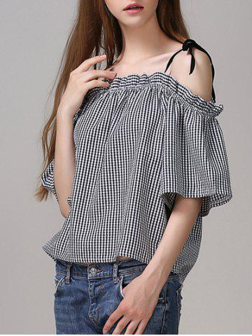Outfit Sweet Cold Shoulder Checkered Bowknot Blouse For Women