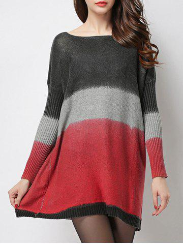 Fashion Casual Style Jewel Neck Ribbed Sleeve Tie-Dye Sweater For Women