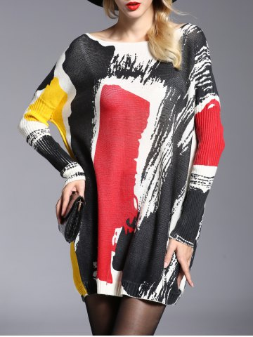 Store Stylish Jewel Neck Long Sleeve Color Block Long Sweater For Women