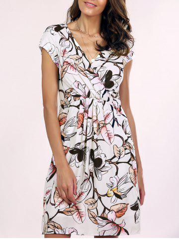 Shops Trendy V-Neck Floral Print Wrap Dress For Women WHITE 2XL